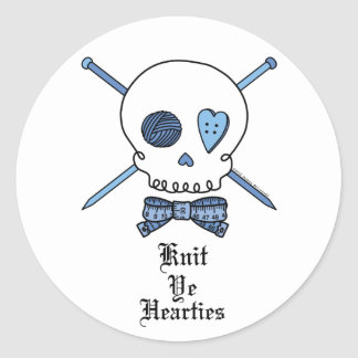 Knit Ye Hearties (Blue) Classic Round Sticker