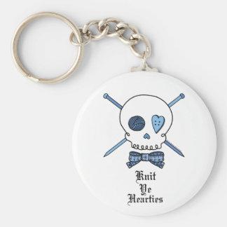 Knit Ye Hearties (Blue) Keychains