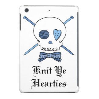 Knit Ye Hearties - Knitting Skull (Blue) iPad Mini Retina Covers