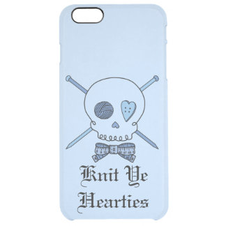 Knit Ye Hearties -Knitting Skull (Bow Tie #2) Uncommon Clearly™ Deflector iPhone 6 Plus Case
