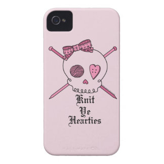 Knit Ye Hearties (Pink Background) iPhone 4 Case-Mate Case