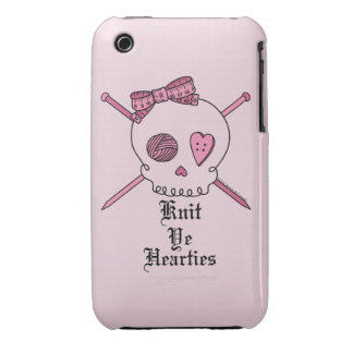 Knit Ye Hearties (Pink Background) Case-Mate iPhone 3 Case