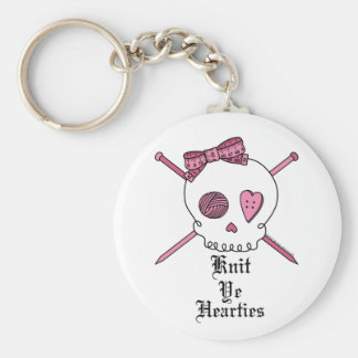 Knit Ye Hearties (Pink) Keychain