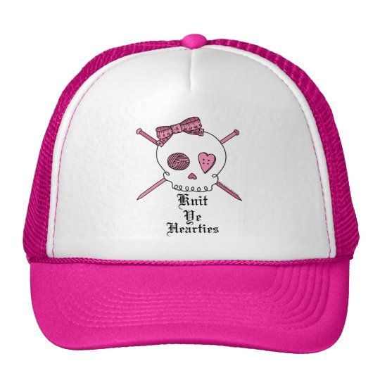 Knit Ye Hearties (Pink) Trucker Hat