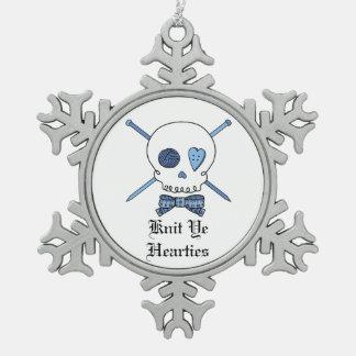 Knit Ye Hearties -Skull & Knitting Needles (Blue) Snowflake Pewter Christmas Ornament