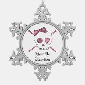 Knit Ye Hearties -Skull & Knitting Needles (Pink) Snowflake Pewter Christmas Ornament