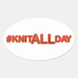 #KNITALLDAY Oval Sticker