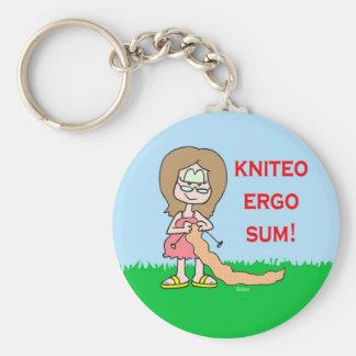 kniteo ergo sum basic round button keychain