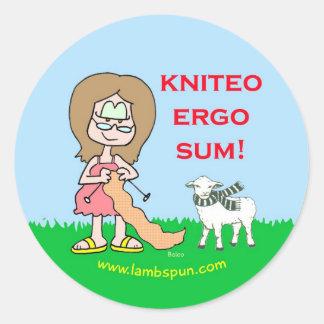 kniteo ergo sum lambspun sticker