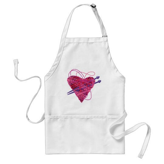 kniting heart adult apron