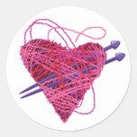 kniting heart classic round sticker