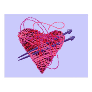 kniting heart postcard