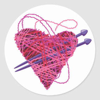 kniting heart round stickers
