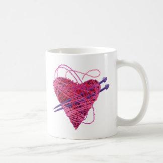 kniting pink heart classic white coffee mug