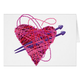 kniting pink heart greeting card