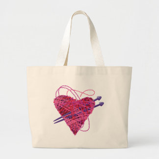 kniting pink heart large tote bag
