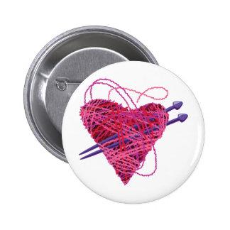 kniting pink heart pinback button