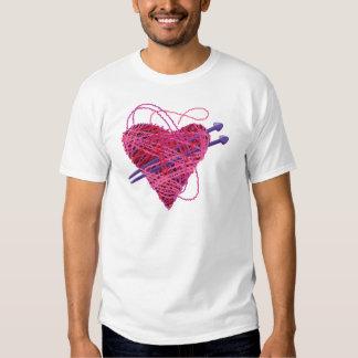 kniting pink heart t shirt
