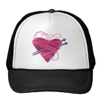 kniting pink heart trucker hat