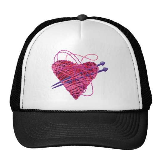 kniting pink heart trucker hat