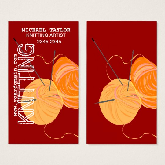 Knits Knitting Needles and Yarn Balls Business Card