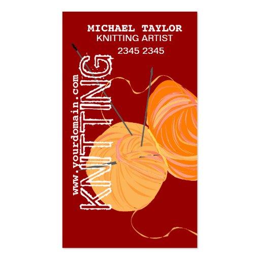 Knits Knitting Needles and Yarn Balls Business Cards