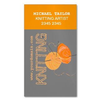 Knits Knitting Needles and Yarn  Craft Artist Magnetic Business Card
