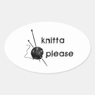 Knitta Please Oval Sticker