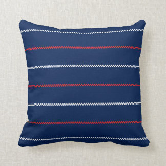 Knitted | Blue Red White Pattern Design Throw Pillow