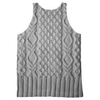 Knitted Cables All-Over-Print Tank Top