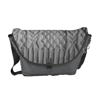 Knitted cables grey messenger bag
