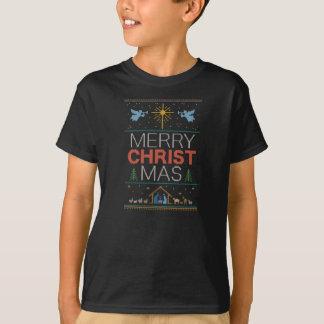 Knitted Christian Merry Christ Mas Christmas T-Shirt