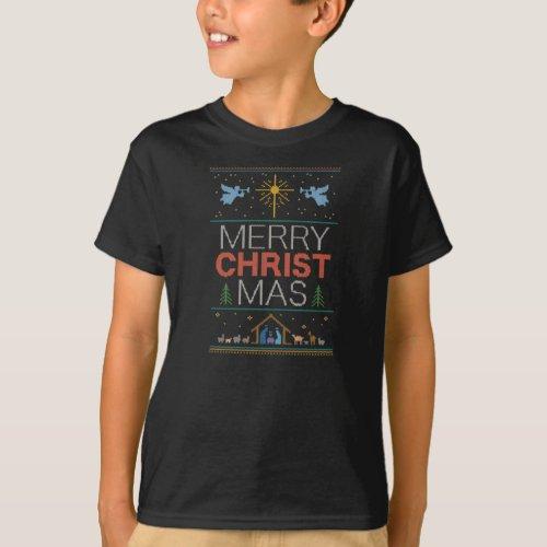 Knitted Christian Merry Christ Mas Christmas T_Shirt