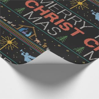 Knitted Christian Merry Christ Mas Christmas Wrapping Paper