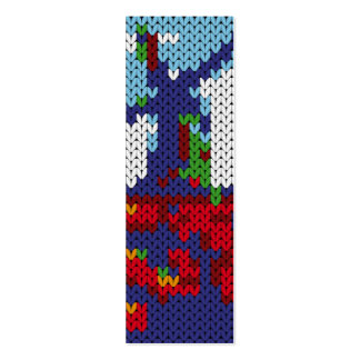 Knitted Dutch windmill on a field bookmark Mini Business Card