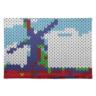 Knitted Dutch windmill on a field Cloth Placemat