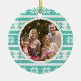 Knitted Effect Christmas Photograph Ornament Green
