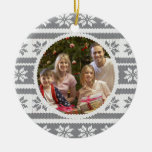 Knitted Effect Christmas Photograph Ornament Grey