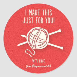 Knitted For You Sticker in Bright Red