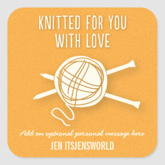 Knitted For You Sticker in Golden Orange