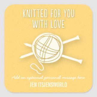 Knitted For You Sticker in Yellow