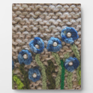 knitted garden plaques