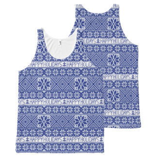 """Knitted """"Happy Holidays"""" pattern All-Over Print Tank Top"""