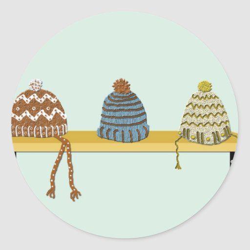 Knitted Hats on a Shelf Round Sticker