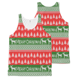 """Knitted """"Merry Christmas"""" pattern All-Over Print Tank Top"""