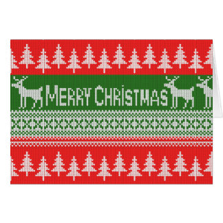 "Knitted ""Merry Christmas"" pattern Card"