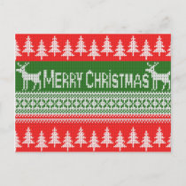 "Knitted ""Merry Christmas"" pattern Holiday Postcard"