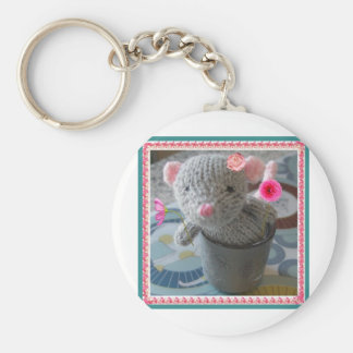knitted mouse key chain
