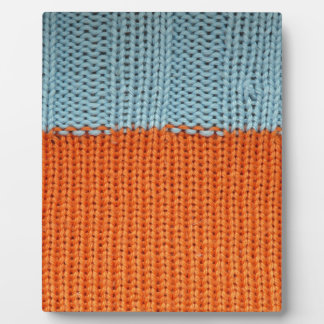 Knitted Orange and Teal Wool Display Plaques