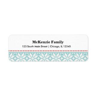 Knitted pattern return address label